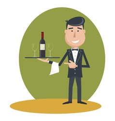 waiter wine vector image