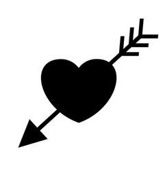 wedding heart with arrow black icon vector image