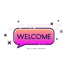 Welcome poster with pink gradient speech bubble vector