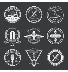 White Barber Emblem Set vector image