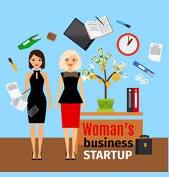 Women in office with money tree vector