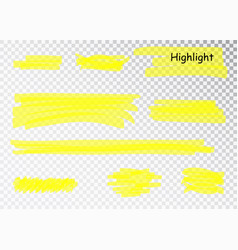 yellow highlighter marker strokes brush vector image