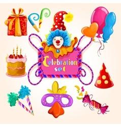 Celebration set colored vector image vector image