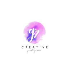 gr watercolor letter logo design with purple vector image vector image
