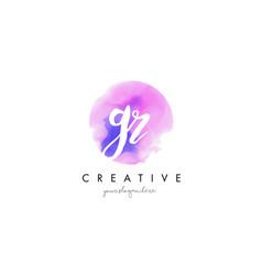 gr watercolor letter logo design with purple vector image