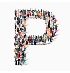 group people shape letter P vector image