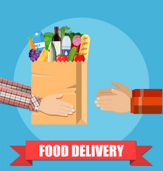 hands hold food package vector image vector image