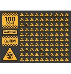 icn set triangle yellow warning caution vector image vector image