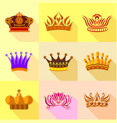 princess crown icons set flat style vector image vector image