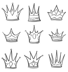 set crown hand draw collection vector image vector image