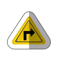 sticker yellow triangle frame turn right traffic vector image vector image