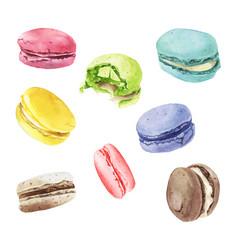 watercolor macaroons mix vector image