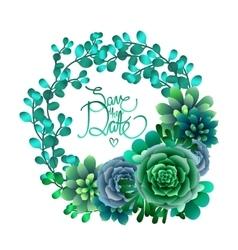 Watercolor succulent wreath vector image vector image