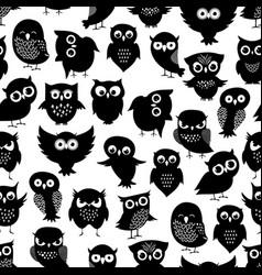 cartoon owl seamless pattern black cute night vector image vector image