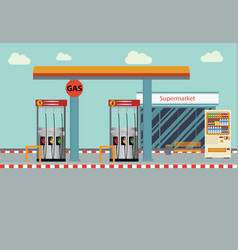 gas station flat vector image vector image