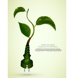 green plug with leaves and planet vector image vector image