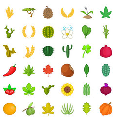 nature plant icons set cartoon style vector image vector image
