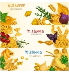 Pasta banners with cooking ingredients vector image vector image