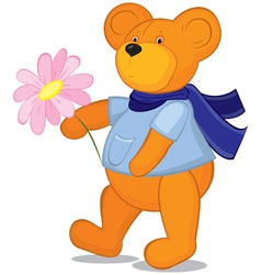 Teddy bear with flower in blue scarf vector image vector image