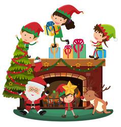 santa and elves on christmas night vector image