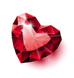 Shiny isolated red ruby heart shape with shadow on vector image