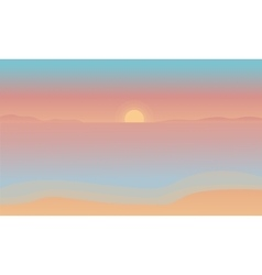Silhouette of beach at the sunset vector image vector image