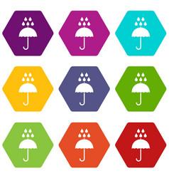 umbrella and rain drops icon set color hexahedron vector image