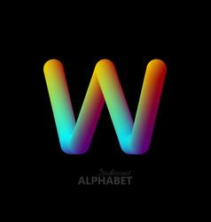 3d iridescent gradient letter w vector image vector image