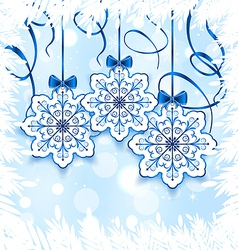 Christmas snowflakes with bow winter decoration vector image vector image