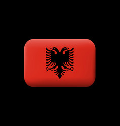 flag of albania matted icon and button rounded vector image vector image