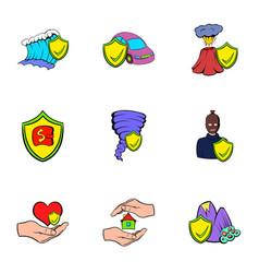 injury icons set cartoon style vector image vector image