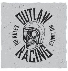 outlaw racing poster vector image vector image