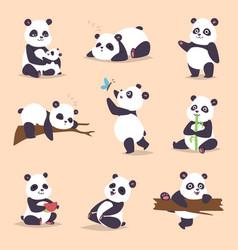 panda cartoon character in various expression vector image