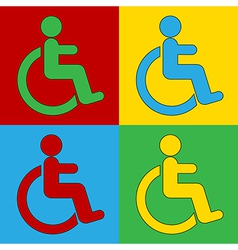 Pop art disabled sign icons vector image vector image