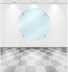 Room with round glass placeholder vector image