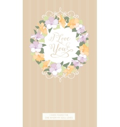 Vertical card with floral frame vector image vector image