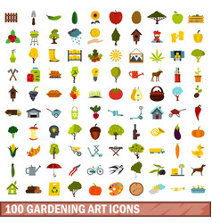 100 gardening art icons set flat style vector image