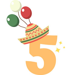 5 number on white background vector