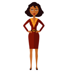 African american worried woman angry business gir vector