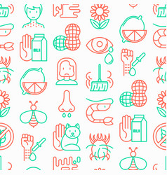 allergy seamless pattern with thin line icons vector image