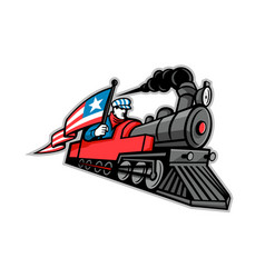 American steam locomotive mascot vector