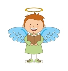 Angel boy character icon vector