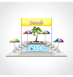 Beach with swimming pool isolated vector image