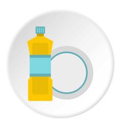 Bottle for dishwashing icon circle vector