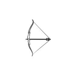 Bow and arrow hand drawn outline doodle icon vector