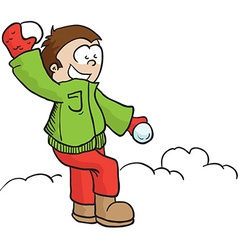 boy with snowball vector image