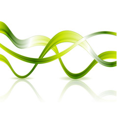 bright glossy green waves on white background vector image