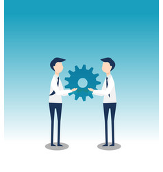 Business cooperation with gear flat design vector