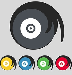 CD or DVD icon sign Symbol on five colored buttons vector image