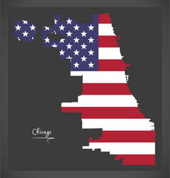 Chicago map with american national flag vector